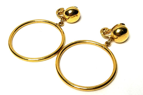 Designer by Monet, earrings, clip on, gold tone hoops, 2 inches.