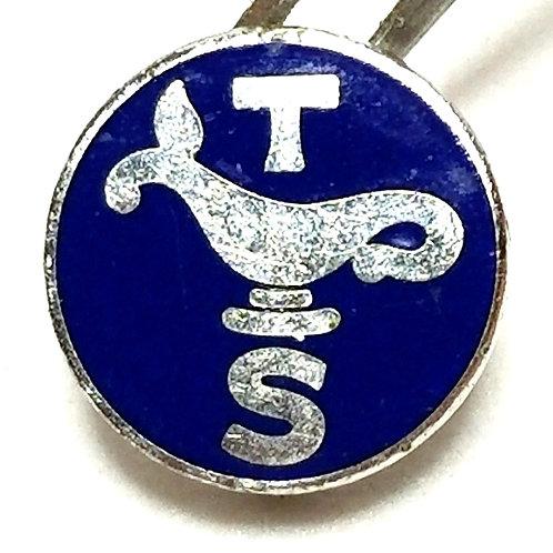 Designer by Broadman Supplies, pin, blue enamel in silver tone, 1/2 inch.