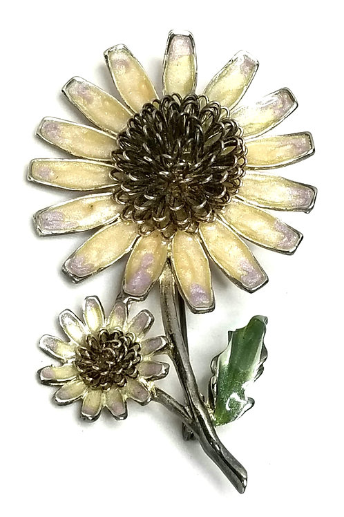Designer by Weiss, brooch, flower motif, enameled flower in silver tone.