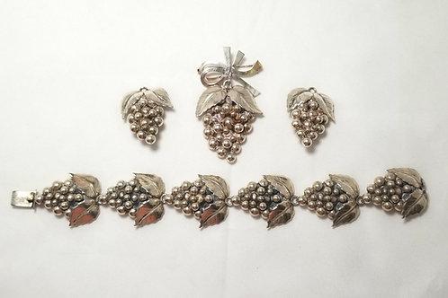Set, SCF Sterling Denmark brooch, bracelet, earrings, grape clusters.