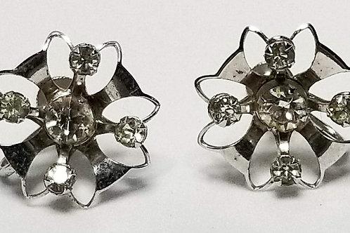Designer by Bugsy and Nash, earrings, screw back, flower motif, rhinestones.