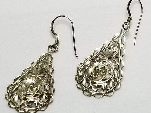 Designer by CM, earrings, pierced silver tone filigree dangles.