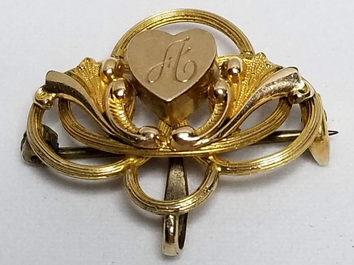 Designer by Mowwic, brooch, initial A brooch in gold tone pot metal.