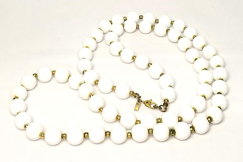 Designer by Monet, necklace, white and gold tone beads, 30 inches.
