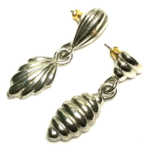 Designer by provenance, earrings, pierced post drops, silver tone.