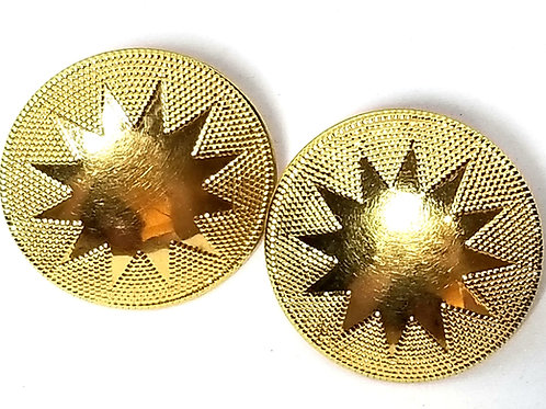 Designer by Napier, earrings, round screw back, gold tone 1 3/8 inches.
