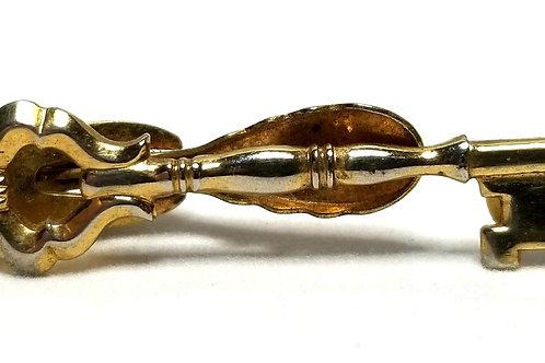 Designer by Hickok USA, tie clip, skeleton key motif, gold tone, 1 1/2 x 3/8 in.