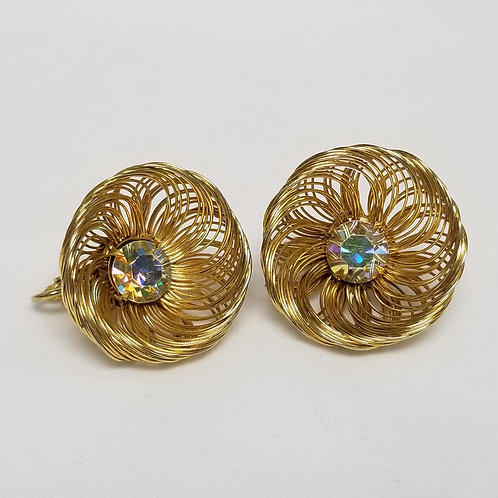 Sarah Coventry, Aurora Borealis, 1 inch gold tone basket weave clip on earrings