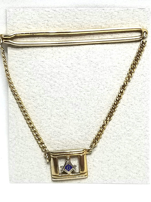 Designer by Swank, tie bar with chain, Freemason motif, blue in gold tone.