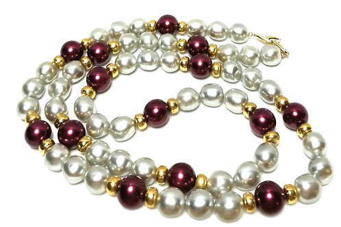 Designer by Napier, white and purple simulated pearls, gold tone beads, 36 inch