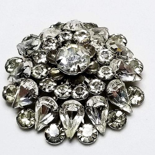 Designer by Judy Lee, brooch, clear rhinestones cluster motif, silver tone.