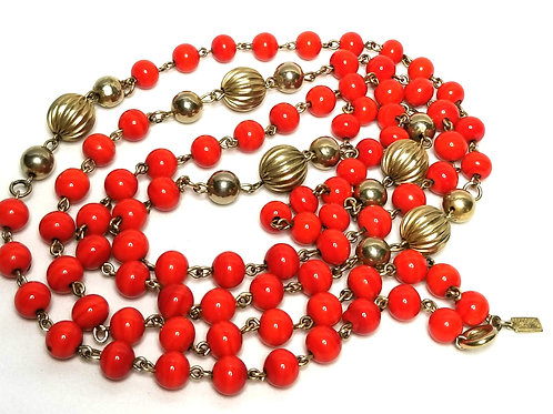 Designer by Kramer, necklace, red and gold tone beads, 44 inches.