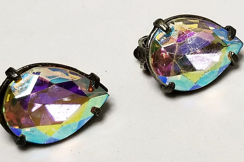 Designer by Judy Lee, earrings, clip on iridescent opal cabochons.