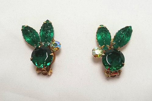 Designer by provenance earrings, green crystals, AB rhinestones, gold tone.