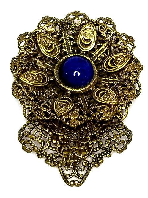 Designer by provenance, scarf clip, flower motif, blue cabochon, filigree