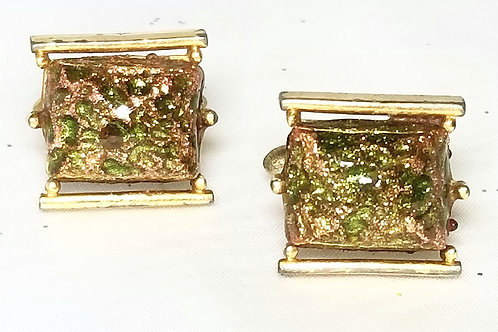 Designer by Swank, cuff links, green copper foiled cabochon in gold tone