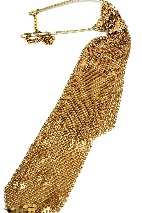 Designer by provenance, necktie, gold lam`e 14 to 18 inches.