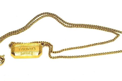 Designer by Trifari, necklace, Zodiac Taurus motif, 16 inches in gold tone.
