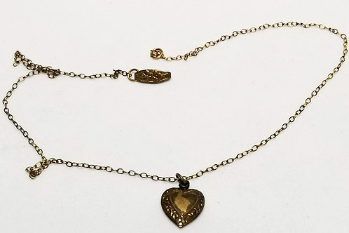 Designer by Van Dell, necklace, gold tone heart, with 12k GF chain