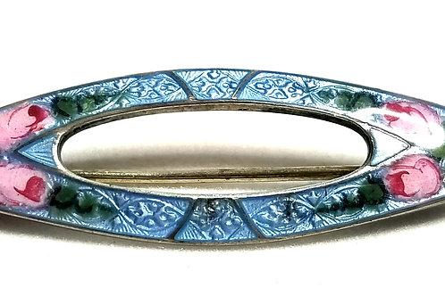 Designer by provenance, brooch, flower motif, blue and pink enamel, Sterling.