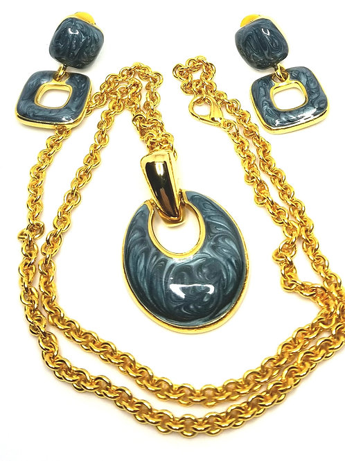 Designer by provenance, set, necklace, earrings, clip on, blue swirls, gold tone