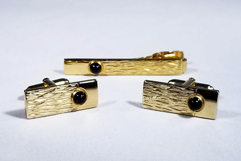 Designer by Anson,  tie tack /cuff links set, black and gold tone