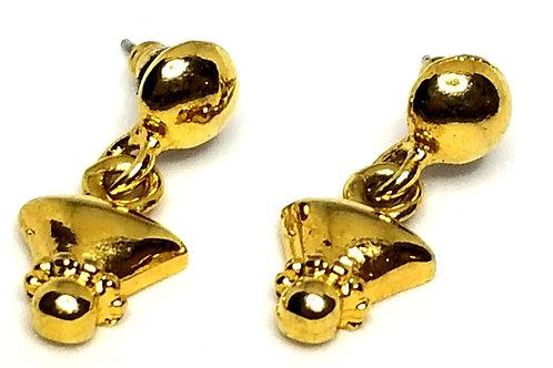 Designer by provenance, earrings, pierced drops, gold tone, 3/8 x 1 inch.
