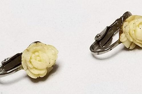 Designer by Van Dell, earrings, ivory flowers in silver tone pot metal.