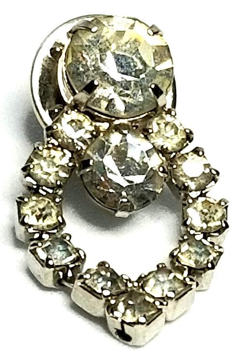 Designer by provenance, brooch, clear rhinestones, silver tone, 5/8 x 1 1/8 inch