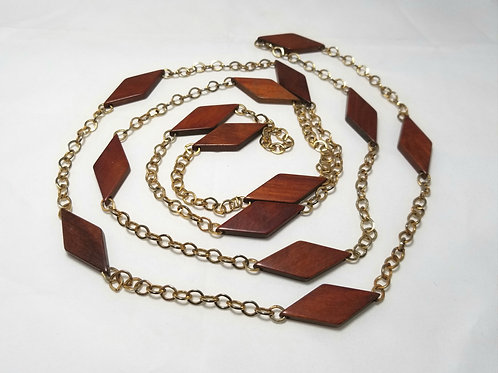Designer by provenance necklace, brown wood beads and gold tone chain, 58""
