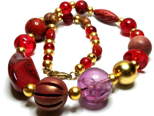 Designer by provenance, necklace, red, purple, wood, and gold tone beads, 22 in.