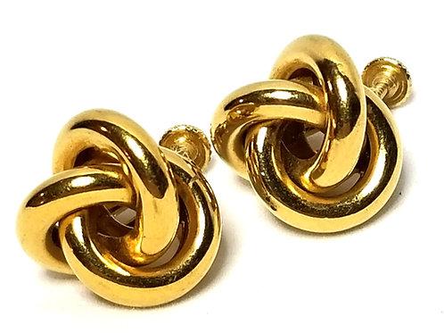 Designer by Napier, earrings, screw back, knot motif, gold tone 5/8 inch.
