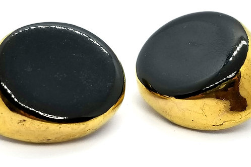 Designer by provenance, earrings, clip on, black cabochons, gold tone.