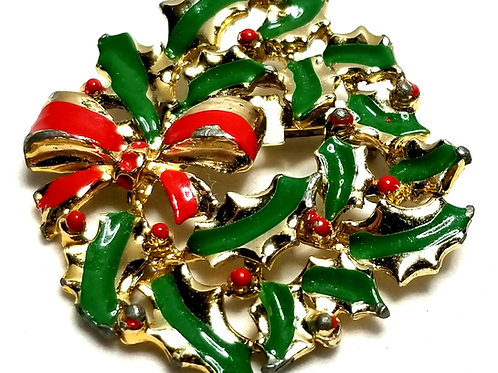 Designer by provenance, brooch, Christmas wreath motif, multi color, gold tone.