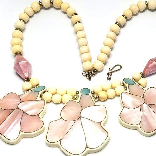 Designer by provenance, flower motif, necklace, pink, blue, cream & mauve beads