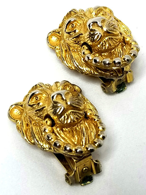 Designer by Mimi Di N, earrings, clip on lion theme, gold tone pot metal.
