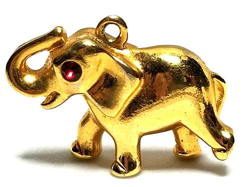 Designer by provenance, pendant/charm, elephant motif, red stones, gold tone.