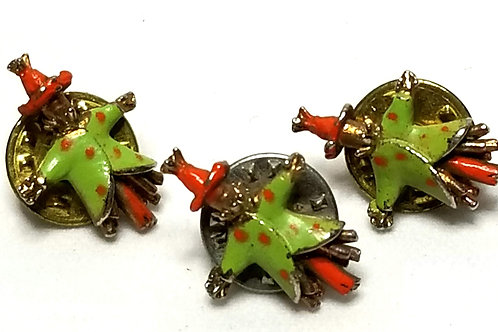 Designer by provenance, pins (3), multi color in gold tone, 1/2 x 3/4 in