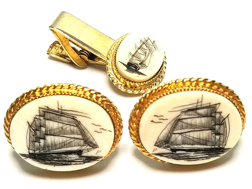 Designer by HBE Verna, set, cuff links and tie tack, ivory scrimshaw, gold tone.
