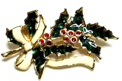 Designer by provenance, brooch, Christmas holly motif, multi color.