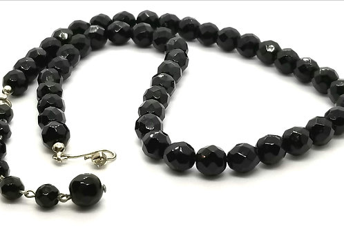 Designer by provenance, necklace, black faceted beads, 16 inches.