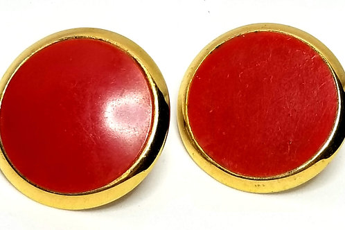 Designer by Napier, earrings, screw back, red round cabochons in gold tone.