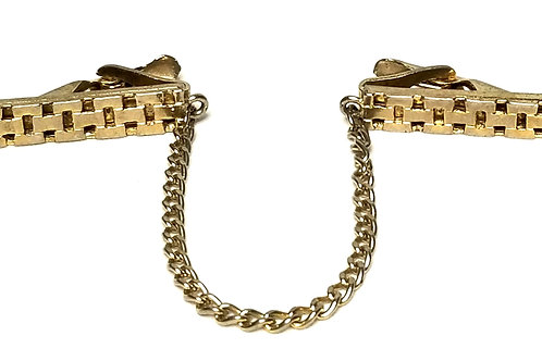 Designer by Provenance, tie clip with chain, basket weave, gold tone pot metal.