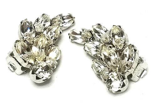 Designer by Weiss, earrings, clear rhinestones clusters, in silver tone.