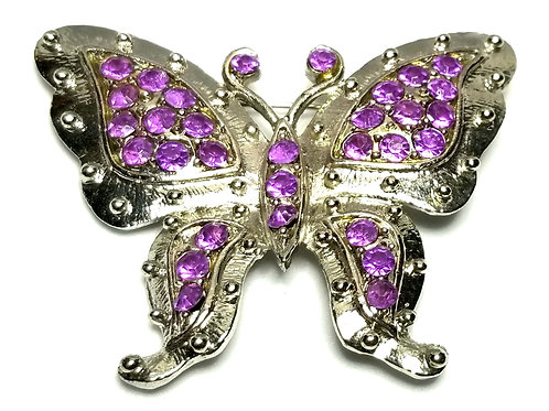 Designer by provenance, brooch, butterfly motif, purple rhinestones, silver tone