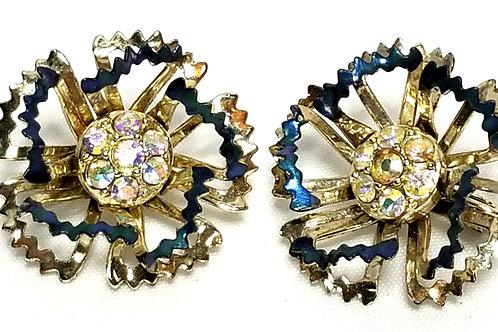Designer by Sarah Cov, earrings, clip on flower motif blue with rhinestones.