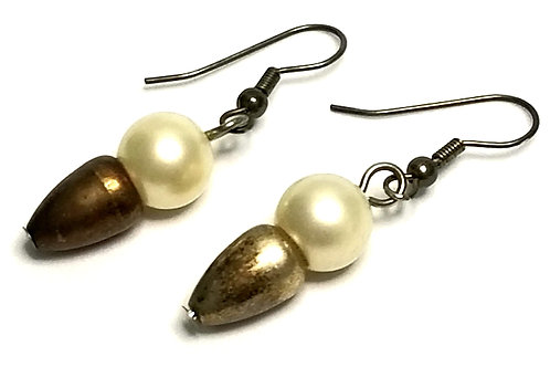 Designer by provenance, earrings, pierced wire drops, white faux pearls.