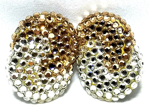 Designer by Richard Kerr, earrings, clip on gold tone and clear tone rhinestones