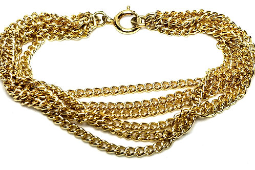 Designer by provenance, bracelet, six strand chains, gold tone, 7 1/2 inches.