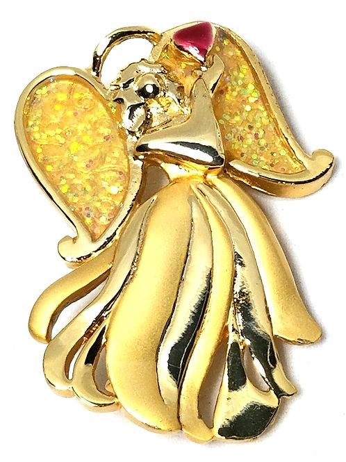 Designer by A.A.I., brooch, angel motif, multi color, gold tone.
